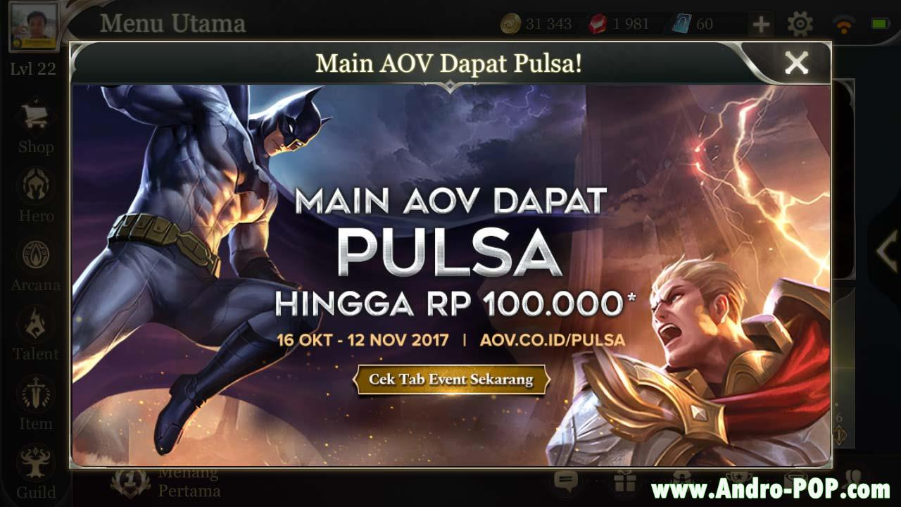 Cara Tukar Token Pulsa di Game Garena AOV (Arena of Valor)