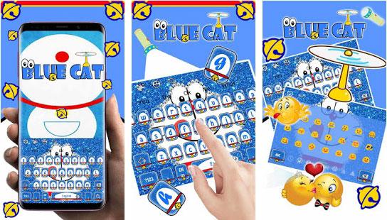Kawaii Blue Cat Diamond Keyboard